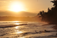 Golden sunrise in Cahuita, Costa Rica