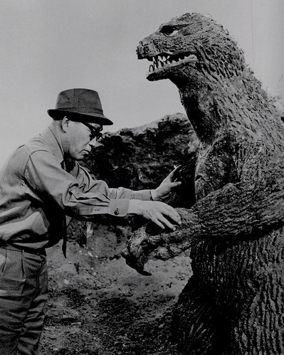 "Eiji Tsuburaya and Godzilla during the filming of ""King Kong versus Godzilla"" (1962)"
