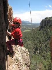 Julia climbing at Shelf Road