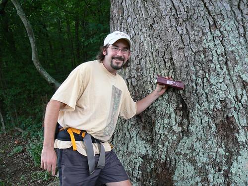 Sinking Creek Mountain - Tony, Mushroom  Book and Mushroom on Keffer Oak