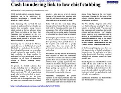 Cash Link to Law Chief Stabbing