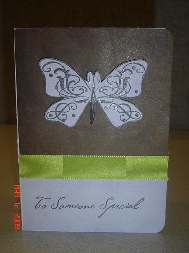 Even I have been bitten by the stamping bug! Heres a card I created for my monthly card group. I ended up tracing the stamped butterfly image with a glitter pen to give the wings a little extra shimmer.