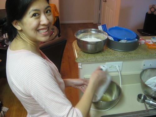 Sandra helping me with my meringue