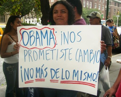 You promised us change, not more of the same, Rubiela Arias sign said at a New York protest against Janet Napolitano - Photo: Maibe Gonzalez Fuentes.