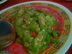 Ruby's ladies' fingers with dried prawns