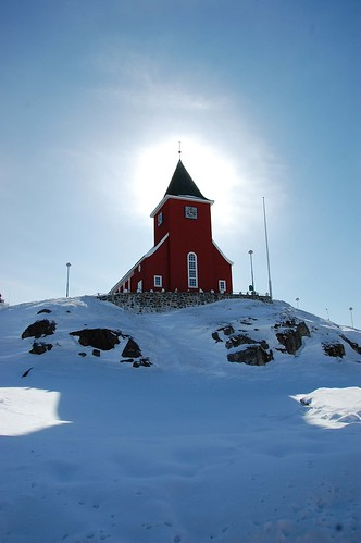 The church in Sisimiut. In the 1980s they split it in two and lengthened it in the middle to get more seats!