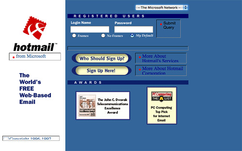 what hot mail looked like in 1998|Adlandpro
