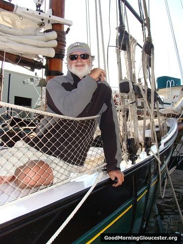 Tom Ellis Aboard His Schooner The Thomas E Lannon