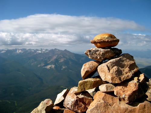 Summit Cheeseburger atop The Sphinx