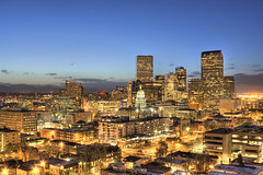 Night falls over Denver