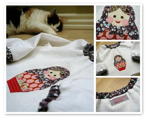 Matryoshka appliqué blouse - mosaic