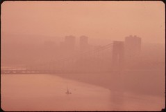 The George Washington Bridge in Heavy Smog. View toward the New Jersey Side of the Hudson River.
