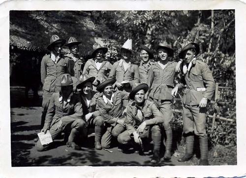 'kaart lezen in kampongs' /  map reading in the Indonesian villages (far left : Leen van der Groef) , former Dutch Indies , late 1930's