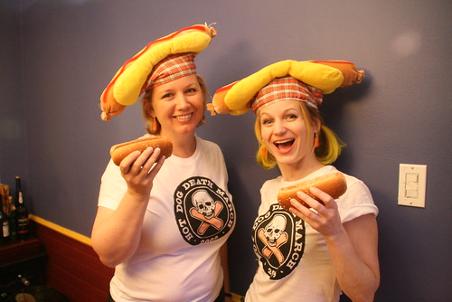 Julia & Lucinda rock the tees & hats!