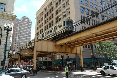 "CTA Elevated ""L"" Train System, Van Buren Street, Chicago, Illinois, USA"