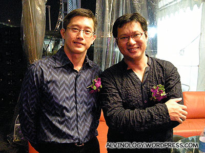 Chim Kang and Mr Teo Teo Luck at the artiste holding tent