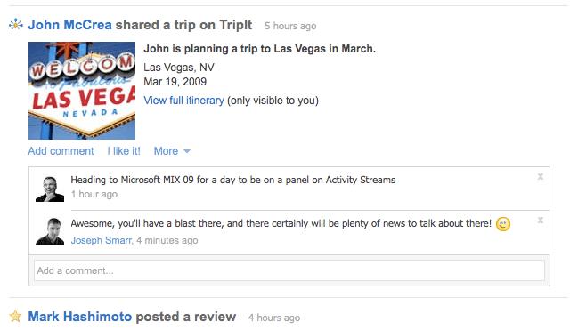 Vegas Trip in the Plaxo Stream