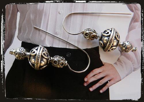 Orecchini argento tibetano - Tibetan silver short earrings ICMEDEME