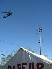 Obama flying over Darfur Tent