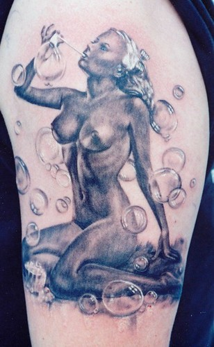 Sweet, bubbles. by Independent Tattoo. black and gray tattoo by Matthew Amey