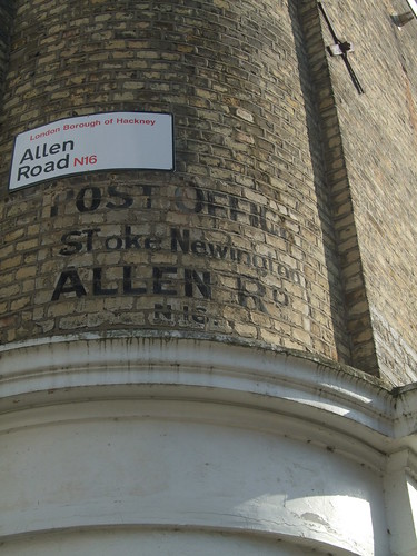 Old post office sign, Allen Road, N16, under Creative Commons, by mtrank. Click pic for link.