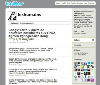 "@LesHumains Twitter NGO / ONG nonprofit (humanism and ecology) : ""Digital Era Humanism"""
