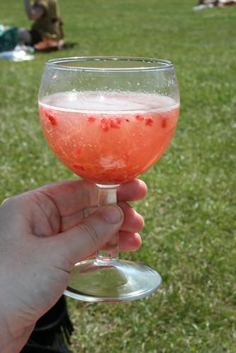 Rhubarb & Raspberry Bellini
