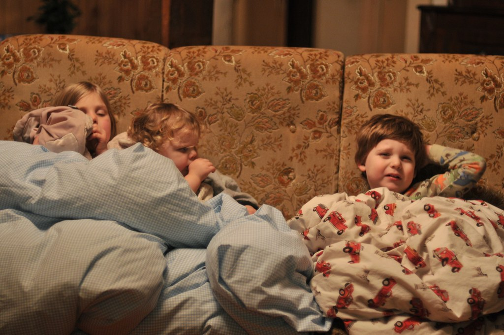 Jet Lagged Kids on the couch