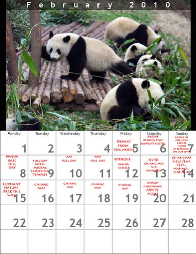 May 16, 2009 updated itinerary for panda moonbear trip by you.