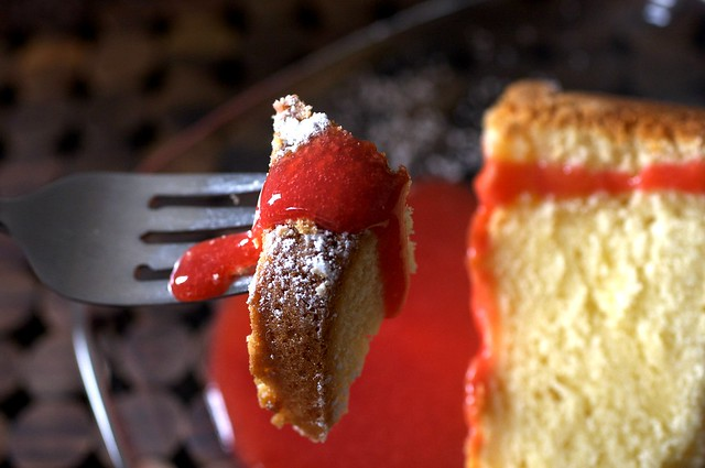 pound cake with coulis