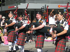 Bagpipers take to the street