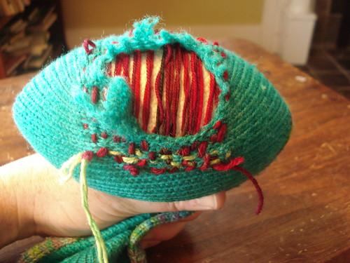 starting the perpendicular weaving