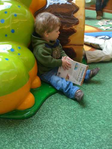 """Reading"" at the indoor playground"