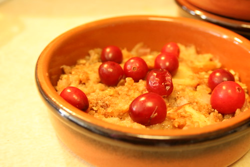 Rhubard-Apple-Pear Crisp with Oatmeal, Brown Sugar, and Cranberry Topping