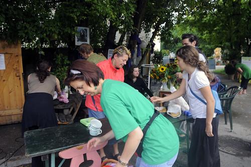Frühstückscafé am 2. Tag der Barockade des Augartenspitz