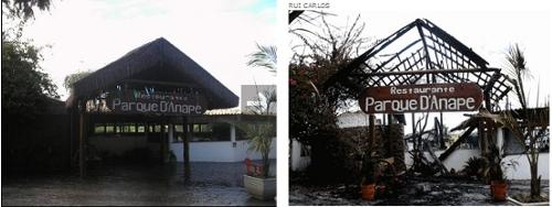 Fotos da entrada do restaurante, antes e após o incêndio