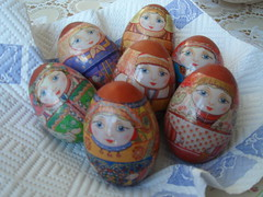 Hard boiled traditional Russian Easter eggs