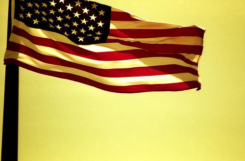 Redscale American Flag. (Fuji Superia Reala 100 — Redscaled. Nikon F100. Epson V500.)