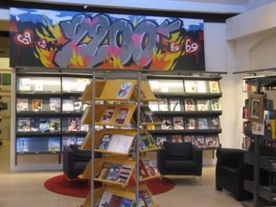 Graffiti Art and Magazine Shelf