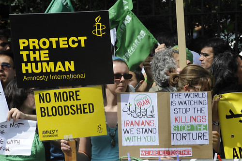 Amnesty International protestors on the Global Day of Action.