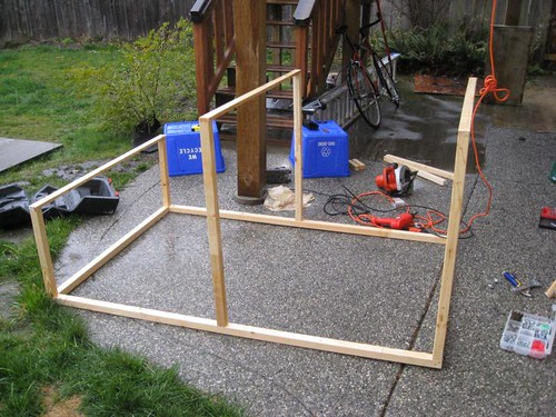 Building a chicken coop in the cold, west coast rain