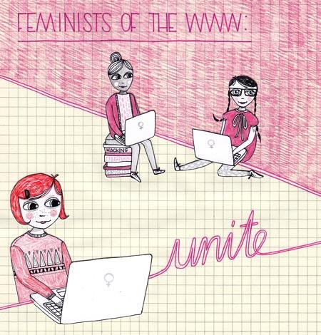 Drei Bloggerinnen mit weißen Laptops auf denen der Venusspiegel prangt, darum der Slogan - Feminists of the WWW: unite