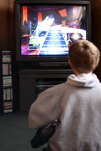 Playing Guitar Hero