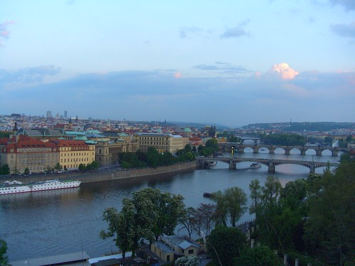 An evening view of Pragues Vltava River