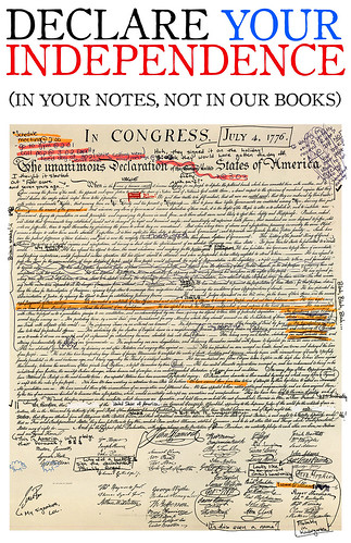 Declare your independence (in your notes, not in our books!)