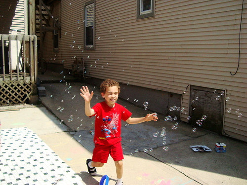 Aidan Playing Bubbles