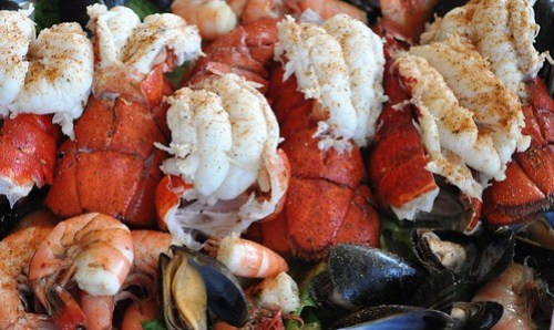 Amazing Seafood Feast with Lobster Tails, Shrimp and Mussels, Rum Bay Restaurant at Palm Island Resort, Fla.