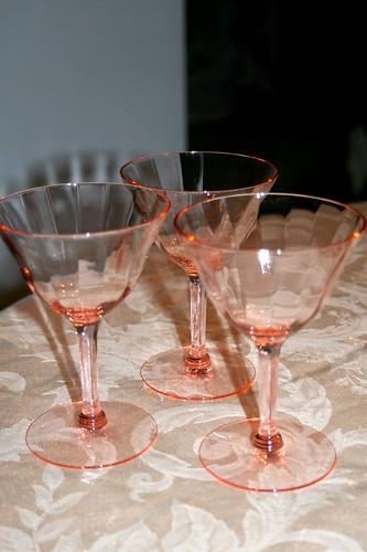 Flea market find pink glass cordials