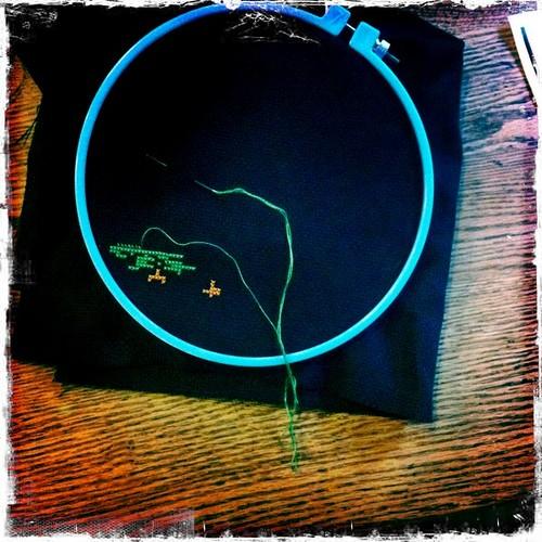 my Oregon Trail cross-stitch
