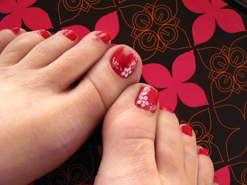 Red Flower Nail Design Nail Art Designs